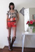 denim sass&bide shorts - unsure boots - navy leather vintage belt