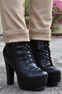 Black-promise-boots-black-forever-21-purse-tan-rainbow-pants