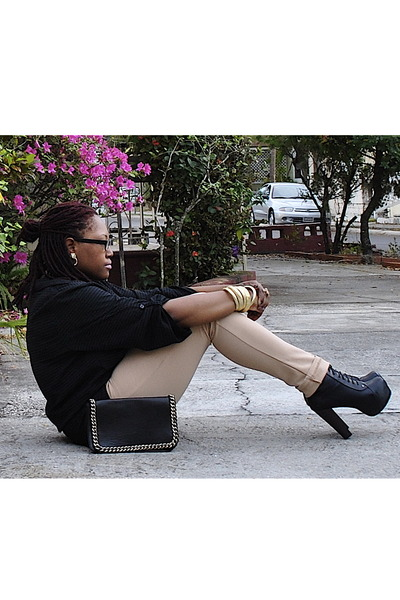 black Promise boots - black Forever 21 purse - tan rainbow pants