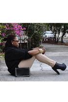 black Promise boots - black Forever 21 purse - tan rainbow pants