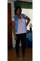 blue thrifted from mom vest - pink Old Navy t-shirt - black random brand legging