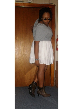 Old Navy sweater - Norma Kamali for Walmart skirt - Goodwill boots - Forever 21