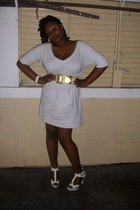 Walmart dress - GoJane shoes - Wet Seal belt - random brand bracelet - Walmart b