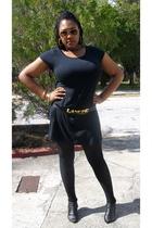 black dress - black asos belt - black stockings - black shoes - gold sunglasses