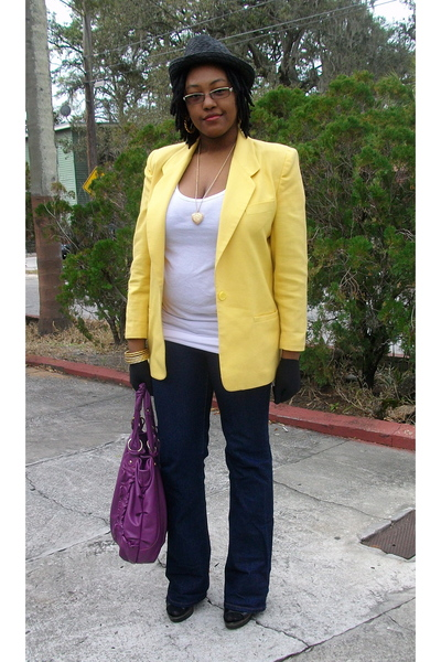 yellow vintage worthington blazer - white Walmart t-shirt - blue Wet Seal jeans