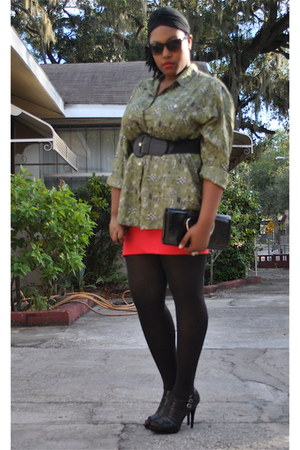 olive green Thrifted Cote de France shirt - red Wet Seal skirt - black Red Circl