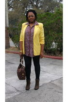 yellow vintage worthington blazer - red Aeropostale shirt - black faith 21 leggi