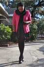 Hot-pink-thrifted-blazer-black-rainbow-skirt-black-walmart-socks-black-wet