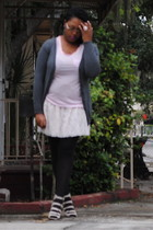 charcoal gray Max Rave cardigan - light pink Old Navy t-shirt - beige Wet Seal s