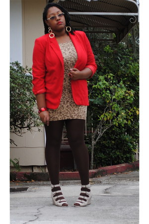 red thrifted sag harbor blazer - camel Wet Seal sweater - dark brown Forever 21
