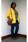 Yellow-thrifted-blazer-blue-forever-21-t-shirt-blue-old-navy-jeans-brown-t