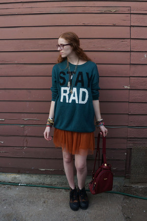 teal Urban Outfitters sweater - burnt orange dress - crimson bag
