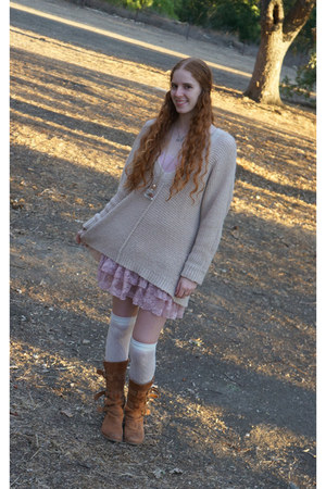 light brown fiorentini and baker boots - light pink free people dress