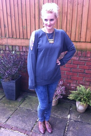 Urban Outfitters jumper - Miss Selfridge boots - new look jeans