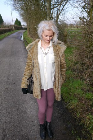 Boohoo coat - new look boots - Topshop leggings - Topshop shirt