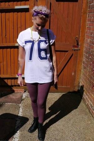 Topshop leggings - new look boots - new look necklace - Topshop t-shirt