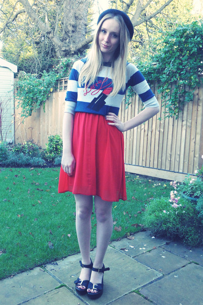 black Urban Outfitters wedges - red Primark dress - black H&M hat