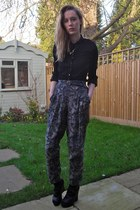 black thrifted shirt - thrifted belt - River Island necklace - Primark pants - b
