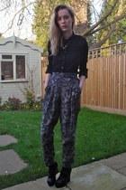black thrifted shirt - thrifted belt - River Island necklace - Primark pants - b