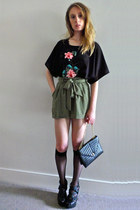 thrifted bag - Miss Selfridge shorts - vintage top - Primark stockings - new loo
