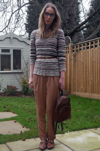 brown Topshop flats - dark brown thrifted vintage bag