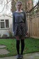 heather gray River Island sweater - black Miss Selfridge shorts - silver River I