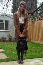 dark brown thrifted vintage bag - navy Topshop shorts - tawny new look cardigan