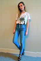 new look jeans - Topshop ring - River Island t-shirt - new look wedges