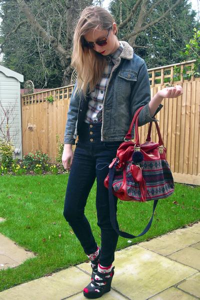 black new look wedges - navy Topshop jeans - new look shirt - River Island bag