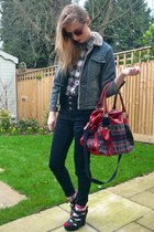 black new look wedges - navy Topshop jeans - new look shirt - River Island bag