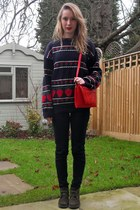 forest green thrifted vintage boots - navy Topshop jeans - ruby red thrifted vin