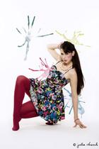 pink H&M dress - red my friends D tights - white Primark necklace - black Primar
