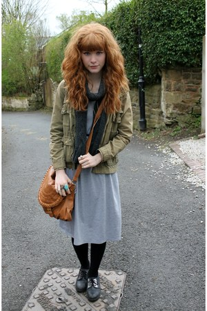 heather gray Primark dress - dark khaki H&M coat - charcoal gray Primark scarf