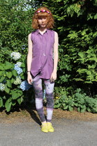 deep purple Primark leggings - light yellow JuJu shoes - amethyst vintage shirt