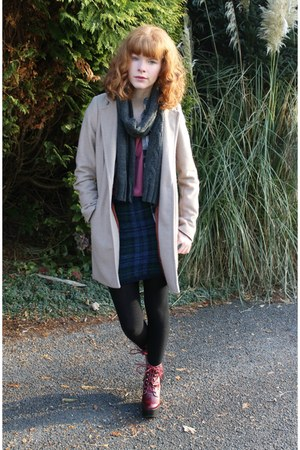 beige Primark coat - ruby red Jeffrey Campbell boots - gray Primark scarf