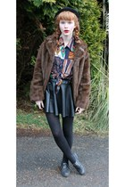 dark brown vintage coat - dark gray Office shoes - black H&M hat
