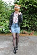 black Koi Couture shoes - black new look jacket - sky blue vintage scarf