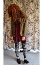 maroon silk vintage shirt - dark khaki H&M coat