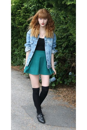 black Primark socks - sky blue vintage jacket - green American Apparel skirt