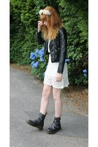 black Dr Martens boots - white H&M dress - black H&M jacket