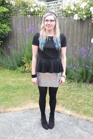 sequin asos skirt - Primark boots - peplum shanton top