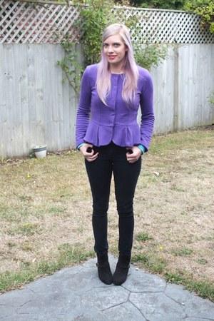 purple peplum asos top - black Primark boots - black jeans