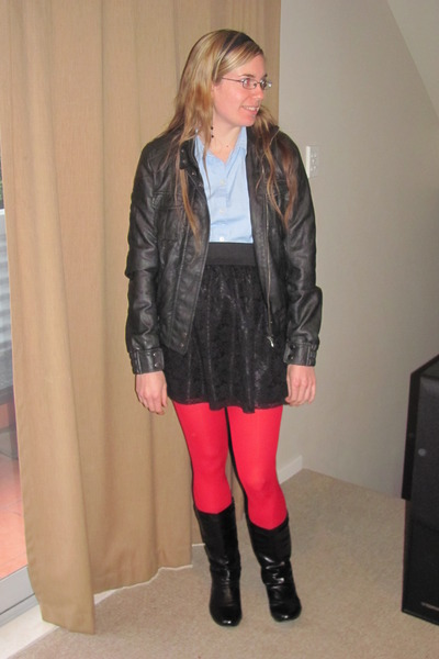 black Glassons jacket - black Jay Jays skirt - red Farmers stockings - blue Thri