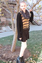 sammydress cardigan - boots - Forever 21 sweater - neutral sammydress tights