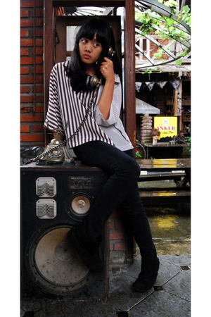 flea market blouse - boots
