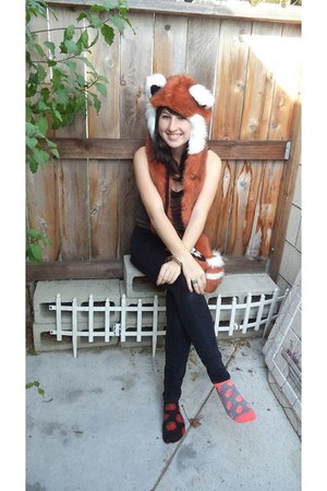 tawny red panda SpiritHoods scarf - dark brown boots - black BDG jeans