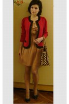 ruby red thrifted vintage jacket - nude H&M dress - black Mohito bag