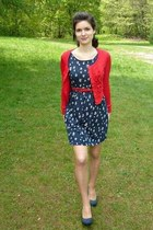 red Zara cardigan - navy Pimkie dress