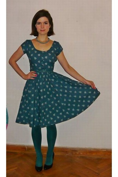 teal thrifted altered dress