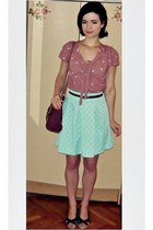pink new look blouse - maroon Primark bag - aquamarine Mohito skirt
